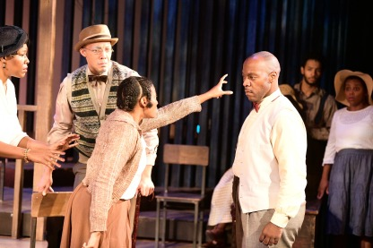 Ebony Pullum as Shug Avery, Dorien Belle as Ol Mister, Jessica M. Johnson as Celie, Tyson Jennette as Mister, and the Ensemble. Photo by Alex Medvick